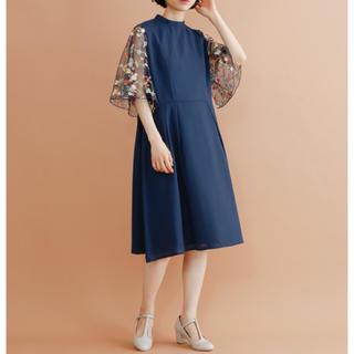 merlot - 花刺繍レース袖 ワンピース ネイビー ドレス