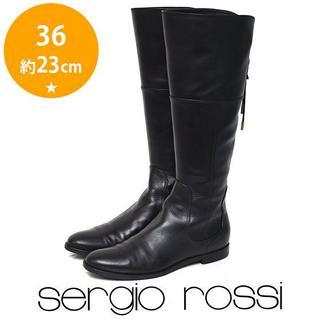 セルジオロッシ(Sergio Rossi)の美品❤️セルジオロッシ バックリボン ロングブーツ 36(約23cm)(ブーツ)