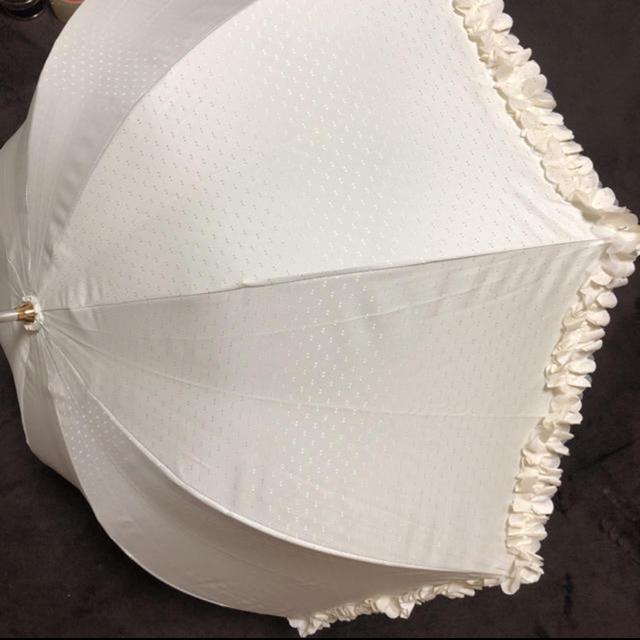 LANVIN en Bleu(ランバンオンブルー)のランバン☆日傘☆ホワイト☆フリル☆リボン☆美品 レディースのファッション小物(傘)の商品写真