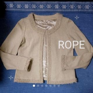 ロペ(ROPE)のROPE ベージュ&ゴールド ウールジャケット(ノーカラージャケット)