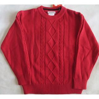 新品 赤 長袖セーター 110 120 ニット 丸首 コットン 男女兼用 Imp