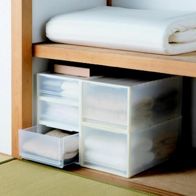 MUJI (無印良品)(ムジルシリョウヒン)の無印良品 ポリプロピレン衣装ケース 引出式 深 1箱(2個入) 良品計画 インテリア/住まい/日用品の収納家具(ケース/ボックス)の商品写真