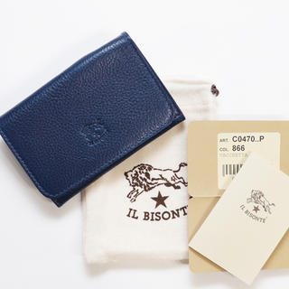 IL BISONTE - 新品 イルビゾンテ 名刺入れ 二つ折り ネイビー カードケース ブランド ケース
