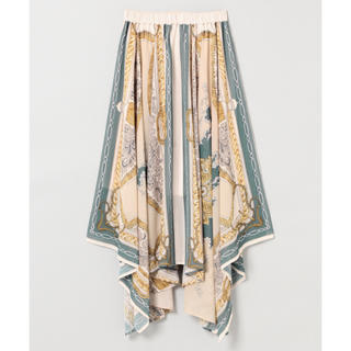 ジーナシス(JEANASIS)のJEANASIS シフォンアソートスカーフスカート ブルー 今期人気カラー(ロングスカート)