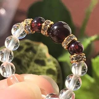 ガーネットと水晶の天然石リング(リング(指輪))