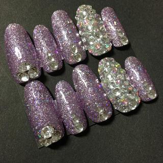 ホログラム  ラメ 紫 キラキラ ネイル