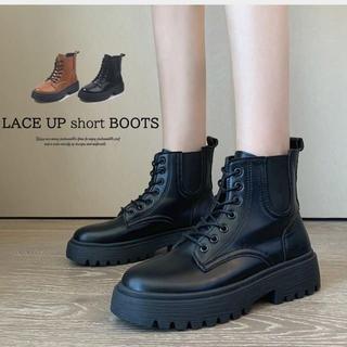 ショートブーツ レディースブーツ ワークブーツ 厚底 靴 レースアップ(ブーツ)