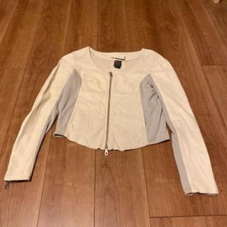 ダブルスタンダードクロージング(DOUBLE STANDARD CLOTHING)のダブルスタンダードクロージングレザージャケットベージュ38(ライダースジャケット)
