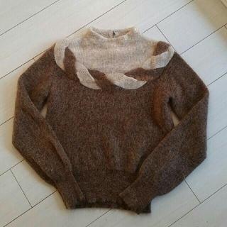 ふわふわ モヘヤ68%ニット ブラウン 茶色(ニット/セーター)
