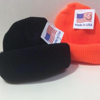 ロスコ(ROTHCO)のロスコニット帽 ブラック&オレンジ 新品 (ニット帽/ビーニー)