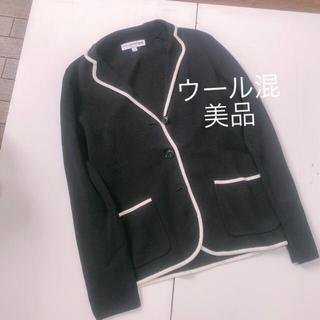 UNIQLO - A ユニクロ 美品 襟付きニットジャケット ウール混 ネイビー オフィス着に