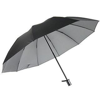 男性用の晴雨兼用日傘 UV99%カット 2段式折りたたみ 裏シルバー65折(黒)(日用品/生活雑貨)