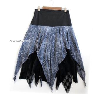 ぎざぎざヘムライン・3種レイヤード・変形フレアスカート/ I.Blue☆(ロングスカート)