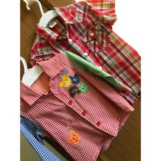 ミキハウス(mikihouse)のベビー服 赤 チェック シャツ 80 110 セット(シャツ/カットソー)
