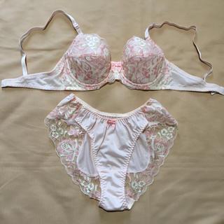 レディース ブラ&ショーツ セット 下着 薄いピンク色(ブラ&ショーツセット)
