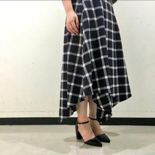 ジーナシス(JEANASIS)のサキゾメラップSK JEANASIS チェック ラップスカート ブラック(ロングスカート)