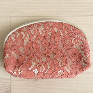 ライスフォース(ライスフォース)の化粧ポーチ レース 花柄 ピンク×ゴールド(ポーチ)