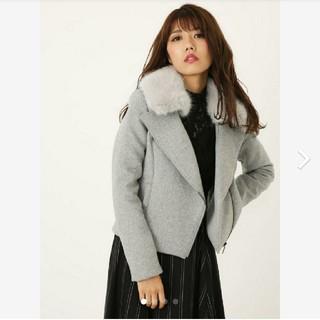 rienda - rienda WクロスFaux Fur Wool MIXライダースJK グレーS