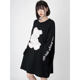 アンクルージュ(Ank Rouge)の♡Ank Rouge ユニセックスBearプリントロンTe ブラック(Tシャツ(長袖/七分))