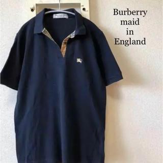 BURBERRY - Burberry イギリス製 ネイビー ポロシャツ ノボチェック柄