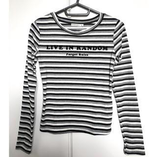ベルシュカ(Bershka)のbershka リブTシャツ モノトーンボーダー S(Tシャツ(長袖/七分))