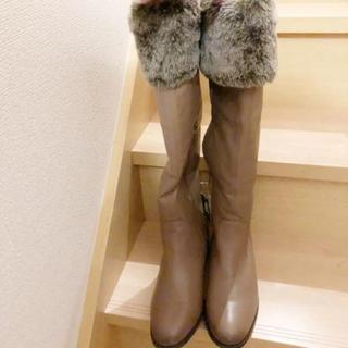 マドラス(madras)の【新品未使用タグ付き】マドラス 本革 ロングブーツ ファー付き(ブーツ)