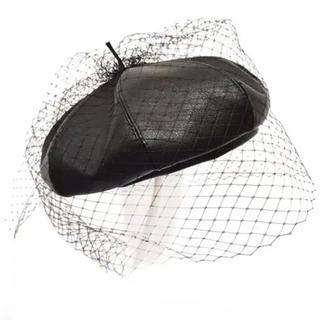 新品●黒チュール付きレザーベレー帽●網ゴシッククラシック(ハンチング/ベレー帽)