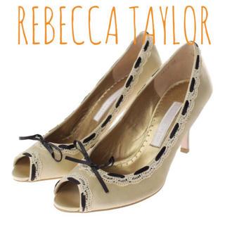 レベッカテイラー(Rebecca Taylor)のレベッカテイラー【新品、未使用】リボンステッチ オープントゥ パンプス 結婚式(ハイヒール/パンプス)