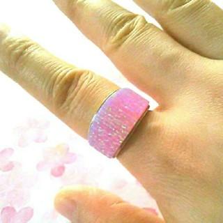 ☆インディアン ジュエリー ズニ  ナバホ ピンク  オパール リング 17号(リング(指輪))