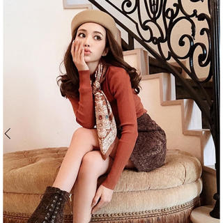 エイミーイストワール(eimy istoire)のeimy スカーフ付きニットプルオーバー ブラウン完売 エイミーイストワール(ニット/セーター)