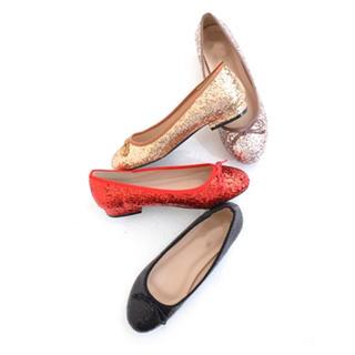 《◆即納◆》グリッターシューズ★バレエシューズ★フラットシューズ★ぺたんこ靴(バレエシューズ)
