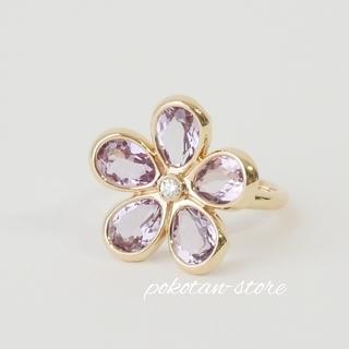 ティファニー(Tiffany & Co.)の極美品【ティファニー】K18PG   ガーデンフラワー アメジスト ダイヤリング(リング(指輪))