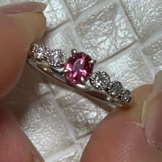 【確認用】Pt900 パパラチアサファイア ダイヤモンド リング(リング(指輪))
