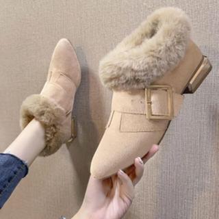 新作 新品 ショート丈 ブーツ ベルト ファー  ショート 靴 パンプス(ブーツ)