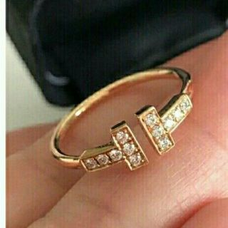Tiffany & Co. - ティファニー☆Tワイヤーダイヤモンドリング美品