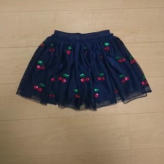 エイチアンドエム(H&M)の美品 H&M 子供スカート 紺色×さくらんぼ🍒 110~120センチ位    (スカート)