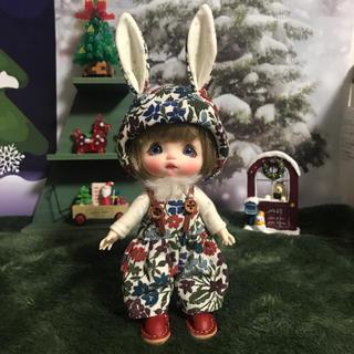 リバティうさ耳帽子セット①(人形)