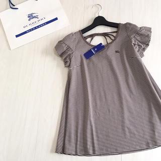 バーバリーブルーレーベル(BURBERRY BLUE LABEL)の新品タグ付き☆バーバリーブルーレーベル 後ろリボン 半袖カットソー 38サイズ(カットソー(半袖/袖なし))