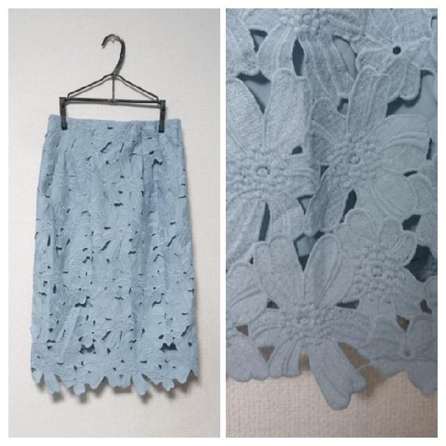 COCO DEAL(ココディール)の【ココディール】フラワー レース タイトスカート (水色) レディースのスカート(ひざ丈スカート)の商品写真