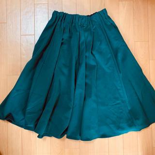 ページボーイ(PAGEBOY)のタックフレアミディスカート ダークグリーン(ひざ丈スカート)