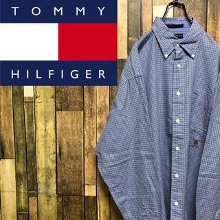TOMMY HILFIGER - 【レア】トミーヒルフィガー☆オールド刺繍ロゴ袖刺繍入りチェックシャツ 90s
