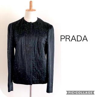 プラダ(PRADA)のPRADA 黒 比翼仕立てジャケット(ノーカラージャケット)