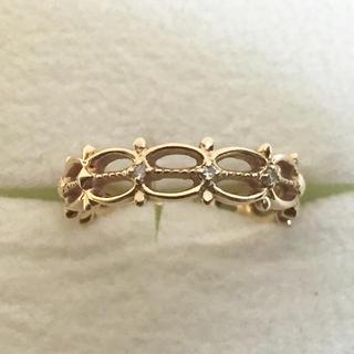 アガット(agete)のK10 イエローゴールド 透かし ダイヤモンド リング(リング(指輪))