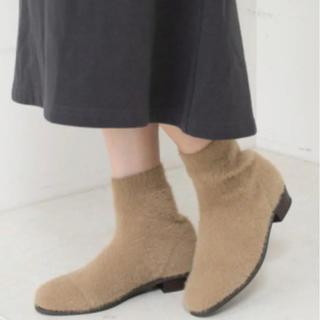チャオパニックティピー(CIAOPANIC TYPY)のチャオパニックティピー アンゴラライクニットブーツ ベージュ(ブーツ)