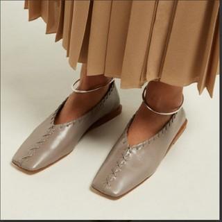 ジルサンダー(Jil Sander)のJIL SANDER SS19 レザー ステッチ シューズ アンクルベルト(ローファー/革靴)