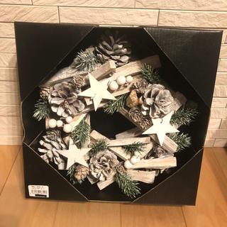 ニコアンド(niko and...)のクリスマスリース ホワイト 25cm ラメ入 マツボックリスター(その他)