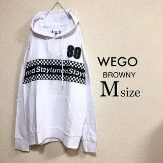 ウィゴー(WEGO)のMサイズ WEGO BROWNY⭐️新品⭐️チェッカーライン切替パーカー白(パーカー)