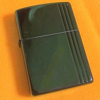 ジッポー(ZIPPO)のZIPPO グリーンメタリック ストライプ エッチング(タバコグッズ)