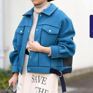 FRAY I.D - Eimee Law ボンディング配色ショートブルゾン ブルー