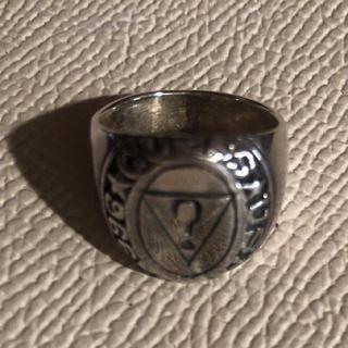 オーバル シルバー925 リング  7号 ピンキー 印台 メンズ クリスマス銀(リング(指輪))